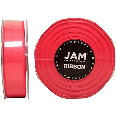 JAM Paper® Double Faced Satin Ribbon, .88 Inch Wide x 25 Yards, Shocking Pink, 2/Pack (807SAshpi25g)
