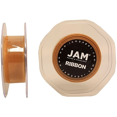 JAM Paper® Sheer Organza Ribbon, .88 Inch Wide x 25 Yards, Gold, 2/Pack (807SHgo25g)