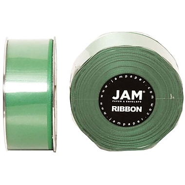 JAM Paper® Double Faced Satin Ribbon, 1.5 Inch Wide x 25 Yards, Emerald Green, 2/Pack (808SAemgr25g)