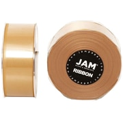JAM Paper® Double Faced Satin Ribbon, 1.5 Inch Wide x 25 Yards, Gold, 2/Pack (808SAgo25g)