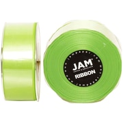 JAM Paper® Double Faced Satin Ribbon, 1.5 Inch Wide x 25 Yards, Lime Green, 2/Pack (808SAligr25g)