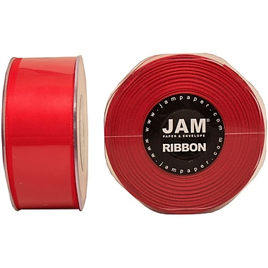 JAM Paper® Double Faced Satin Ribbon, 1.5 Inch Wide x 25 Yards, Red, 2/Pack (808SAre25g)
