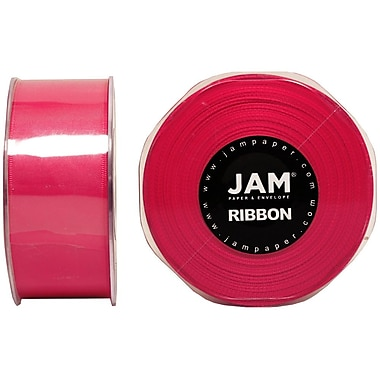 JAM Paper® Double Faced Satin Ribbon, 1.5 Inch Wide x 25 Yards, Shocking Pink, 2/Pack (808SAshpi25g)