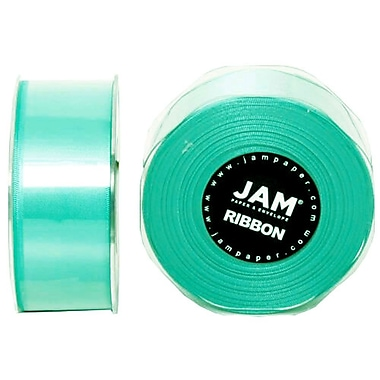 JAM Paper® Double Faced Satin Ribbon, 1.5 Inch Wide x 25 Yards, Teal Blue, 2/Pack (808SAtibu25g)