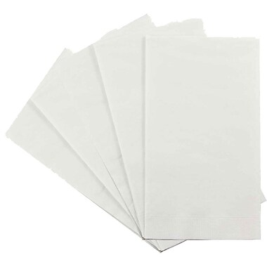 JAM Paper® Rectangular Party Napkins Guest Towels, 8 x 4.5, White, 5 packs of 16 (8255720734g)