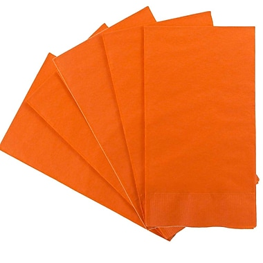 JAM Paper® – Serviettes en papier rectangulaires pour fêtes/invités, 8 po x 4 1/2 po, orange, paq./80