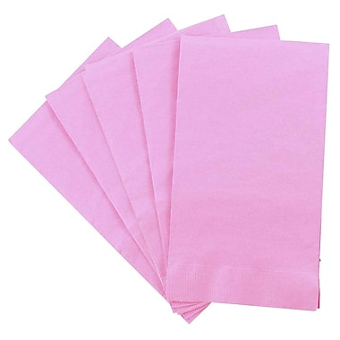 JAM Paper® Rectangular Party Napkins Guest Towels, 8 x 4.5, Baby Pink, 5 packs of 16 (8255720741g)