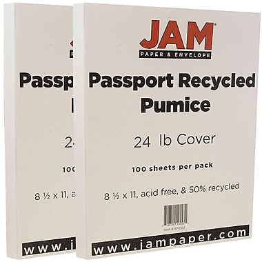 JAM Paper® Recycled Paper, 8.5 x 11, 24lb Pumice White, 2 packs of 100 (871002g)