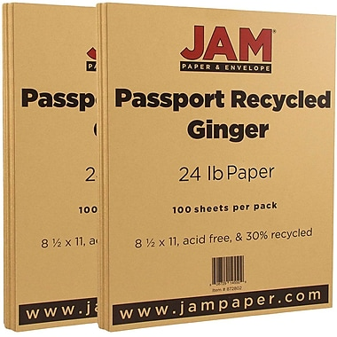 JAM Paper® Recycled Paper, 8.5 x 11, 24lb Ginger Brown, 2 packs of 100 (872802g)