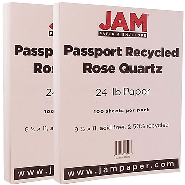 JAM Paper® Recycled Paper, 8.5 x 11, 24lb Rose Quartz, 2 packs of 100 (878213g)