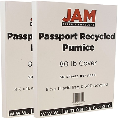 JAM Paper® Recycled Cardstock, 8.5 x 11, 80lb Pumice White, 2 packs of 50 (881010g)