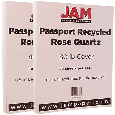 JAM PaperMD – Papier cartonné recyclé Passport, 8 1/2 x 11 po, quartz rose, paquet de 100
