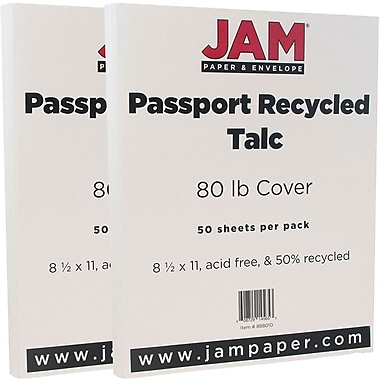 JAM Paper® Recycled Cardstock, 8.5 x 11, 80lb Talc White, 2 packs of 50 (882415g)
