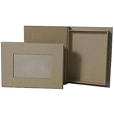 JAM Paper® - Boîte de rangement pour photos, 6 po x 8 po x 1 po, papier kraft brun, paq./2