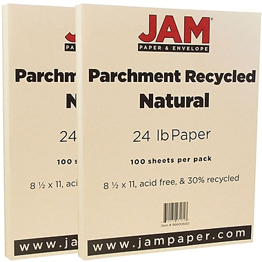 JAM Paper® Parchment Paper, 8.5 x 11, 24lb Natural Recycled, 2 packs of 100 (96600600g)