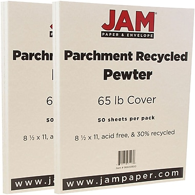 JAM Paper® Parchment Cardstock, 8.5 x 11, 65lb Pewter Recycled, 2 packs of 50 (96600800g)