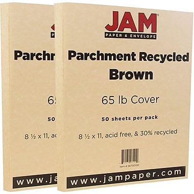 JAM Paper® Parchment Cardstock, 8.5 x 11, 65lb Brown Recycled, 2 packs of 50 (96700100g)