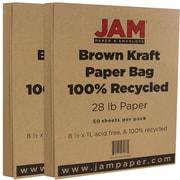 JAM Paper® Matte Paper, 8.5 x 11, 28lb Brown Kraft Paper Bag Recycled, 2 packs of 50 (LEKR36926g)