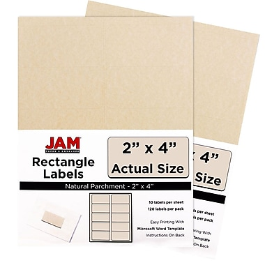 JAM Paper® Mailing Address Labels, 2 x 4, Natural Parchment, 2 packs of 120 (v0227360g)