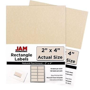 JAM PaperMD – Étiquettes postales, 4 x 2 po, naturel, 10 par page, 240 par paquet