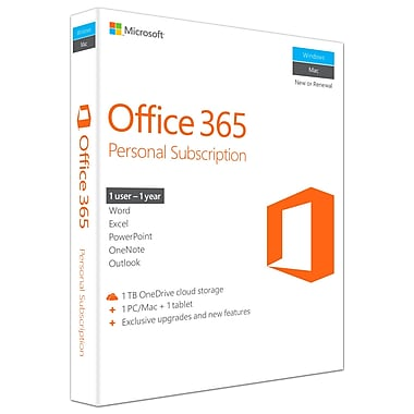 Microsoft Office 365 Personal, 1-year Subscription, English