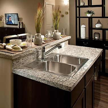 Houzer Glowtone 33'' x 22'' Topmount Double Bowl 20 Gauge Kitchen Sink; 4 Holes