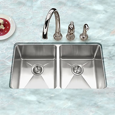 Houzer Nouvelle 31.13'' x 18'' Undermount 50/50 Double Bowl Kitchen Sink