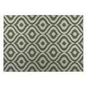 Kavka Ikat Ogee Indoor/Outdoor Floor Mat; Light Green