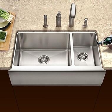 Houzer Epicure 32.88'' x 16 - 20'' Farmhouse Double Bowl 70/30 Kitchen Sink; Right