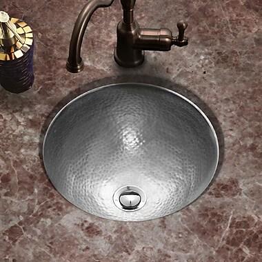 Houzer Hammerwerks Classic Flat Lip Round Bathroom Sink; Pewter