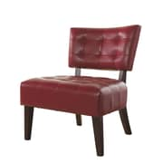 Roundhill Furniture Anjotiya Faux Leather Tufted Chair; Red