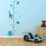 The Decal Guru Space Robot Growth Chart Wall Decal; Teal