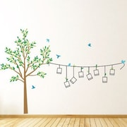 The Decal Guru Photo Line Tree Wall Decal; Light Brown / Blue