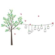The Decal Guru Photo Line Tree Wall Decal; Dark Brown / Red