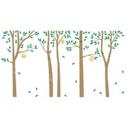 The Decal Guru Birch Trees and Bird Houses Wall Decal; Light Brown / Green / Yellow