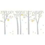 The Decal Guru Birch Trees and Bird Houses Wall Decal; Gray / Celadon / Yellow