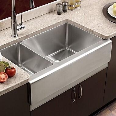 Houzer Epicure 32.88'' x 16 - 20'' Farmhouse Double Bowl 70/30 Kitchen Sink; Left