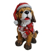 Alpine Dog Wearing Santa Hat and Scarf Decor