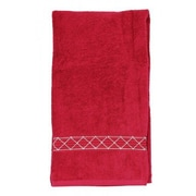 Sparkles Home Rhinestone X-Pattern Bath Towel; Red