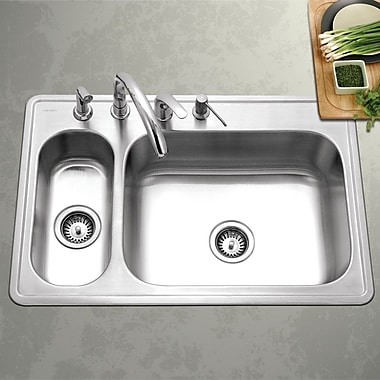 Houzer Legend 33'' x 15.75 - 22'' Topmount Double Bowl 80/20 Kitchen Sink