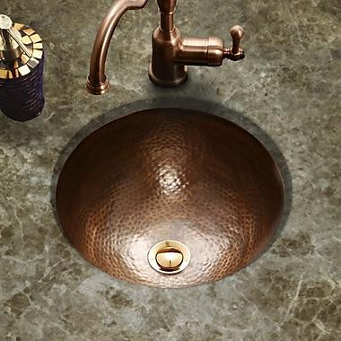 Houzer Hammerwerks Classic Flat Lip Round Bathroom Sink; Copper