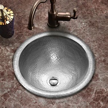 Houzer Hammerwerks Classic Self Rimming Round Bathroom Sink; Pewter