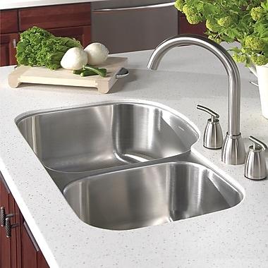 Houzer Medallion Designer 32.5'' x 17.19 - 20.69'' Undermount Double Bowl 70/30 Kitchen Sink; Right