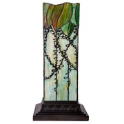 River of Goods Lavish Vine Filigree Tiffany Style Stained Glass Hurricane 17.75'' H Table Lamp