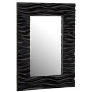Majestic Mirror Stylish Rectangular Wavy Framed Glass Wall Mirror; Black Lacquer