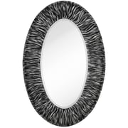Majestic Mirror Traditional w/ Black Rub Beveled Glass Oval Shaped Accent Wall Mirror; Gloss Silver