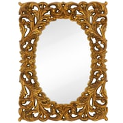 Majestic Mirror Formal Traditional Oval with Black Rub Frame; Gold Leaf