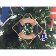 Handcrafted Nautical Decor Decorative Life Ring Christmas Ornament; Antique Blue/White