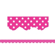 "Teacher Created Resource 35' x 2.25"" Pink with White Stars Scalloped Border Trim (TCR5091)"