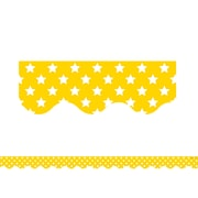 "Teacher Created Resource 35' x 2.25"" Yellow with White Stars Scalloped Border Trim (TCR5030)"